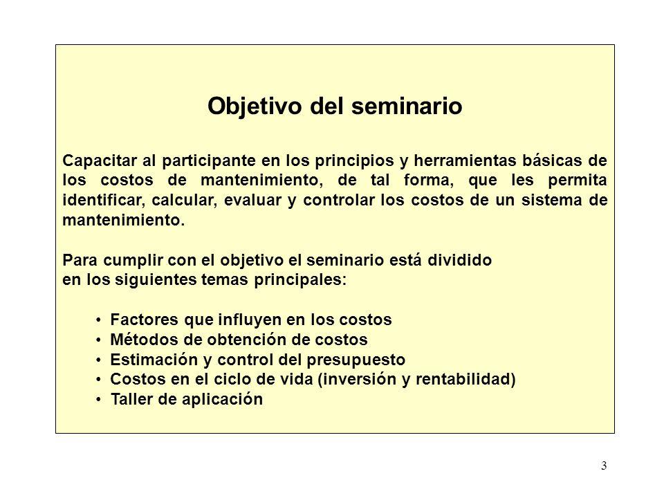 3 Objetivo del seminario Capacitar al participante en los principios y herramientas básicas de los costos de mantenimiento, de tal forma, que les perm