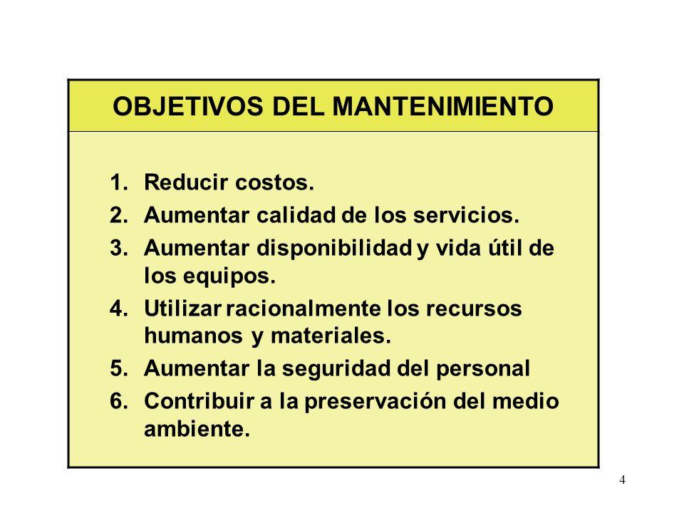 4 OBJETIVOS DEL MANTENIMIENTO 1. Reducir costos. 2. Aumentar calidad de los servicios. 3. Aumentar disponibilidad y vida útil de los equipos. 4. Utili