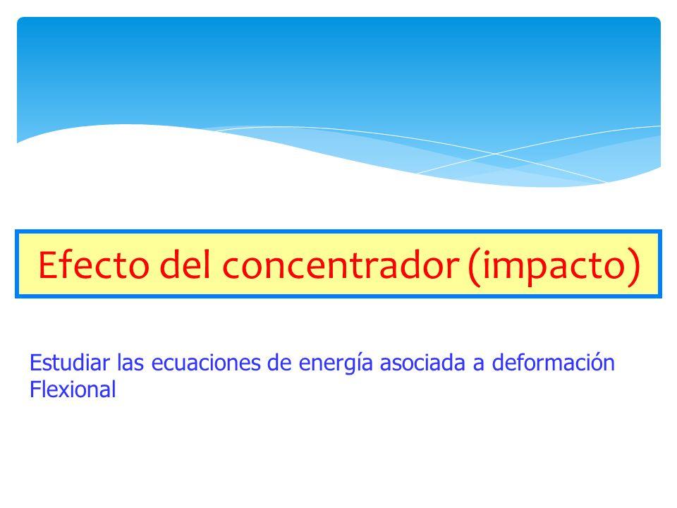 Efecto del concentrador (impacto) Estudiar las ecuaciones de energía asociada a deformación Flexional