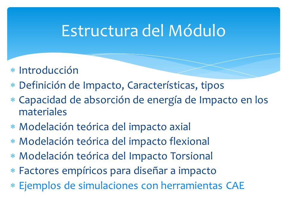 Introducción Definición de Impacto, Características, tipos Capacidad de absorción de energía de Impacto en los materiales Modelación teórica del impac