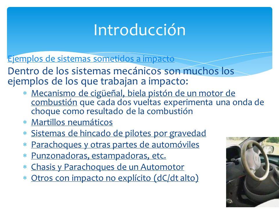 Ejemplos de sistemas sometidos a impacto Dentro de los sistemas mecánicos son muchos los ejemplos de los que trabajan a impacto: Mecanismo de cigüeñal