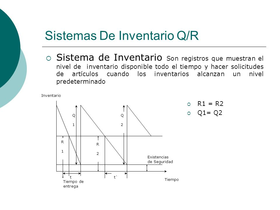 Sistemas De Inventario Q/R Sistema de Inventario Son registros que muestran el nivel de inventario disponible todo el tiempo y hacer solicitudes de ar