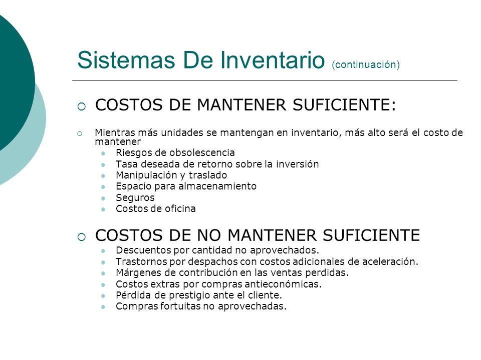 Sistemas De Inventario (continuación) COSTOS DE MANTENER SUFICIENTE: Mientras más unidades se mantengan en inventario, más alto será el costo de mante