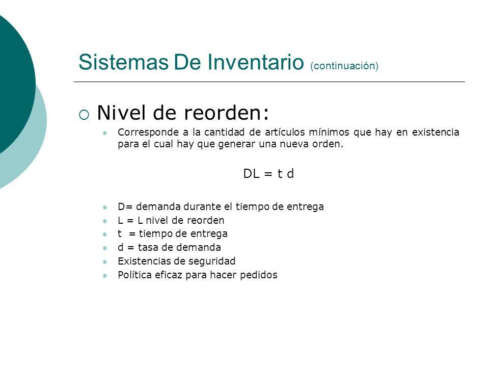 Sistemas De Inventario (continuación) Nivel de reorden: Corresponde a la cantidad de artículos mínimos que hay en existencia para el cual hay que gene