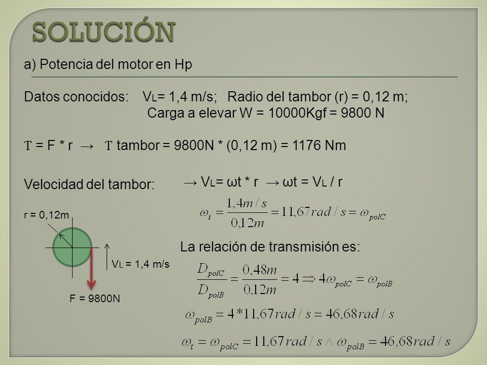 a) Potencia del motor en Hp Datos conocidos: V L = 1,4 m/s; Radio del tambor (r) = 0,12 m; Carga a elevar W = 10000Kgf = 9800 N Ƭ = F * r Ƭ tambor = 9