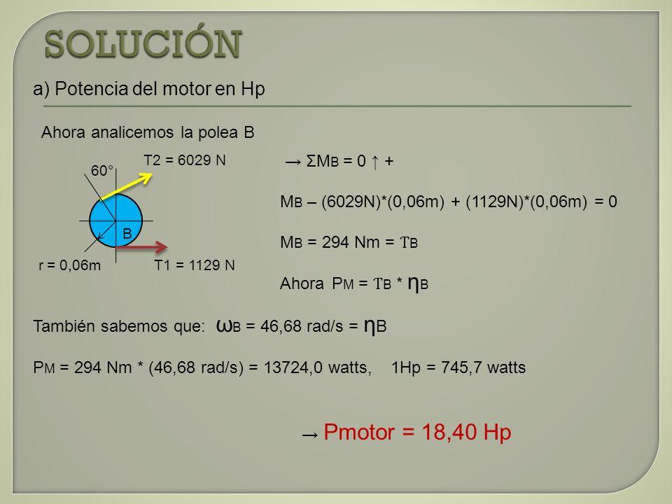 a) Potencia del motor en Hp Ahora analicemos la polea B También sabemos que: ω B = 46,68 rad/s = η B P M = 294 Nm * (46,68 rad/s) = 13724,0 watts, 1Hp