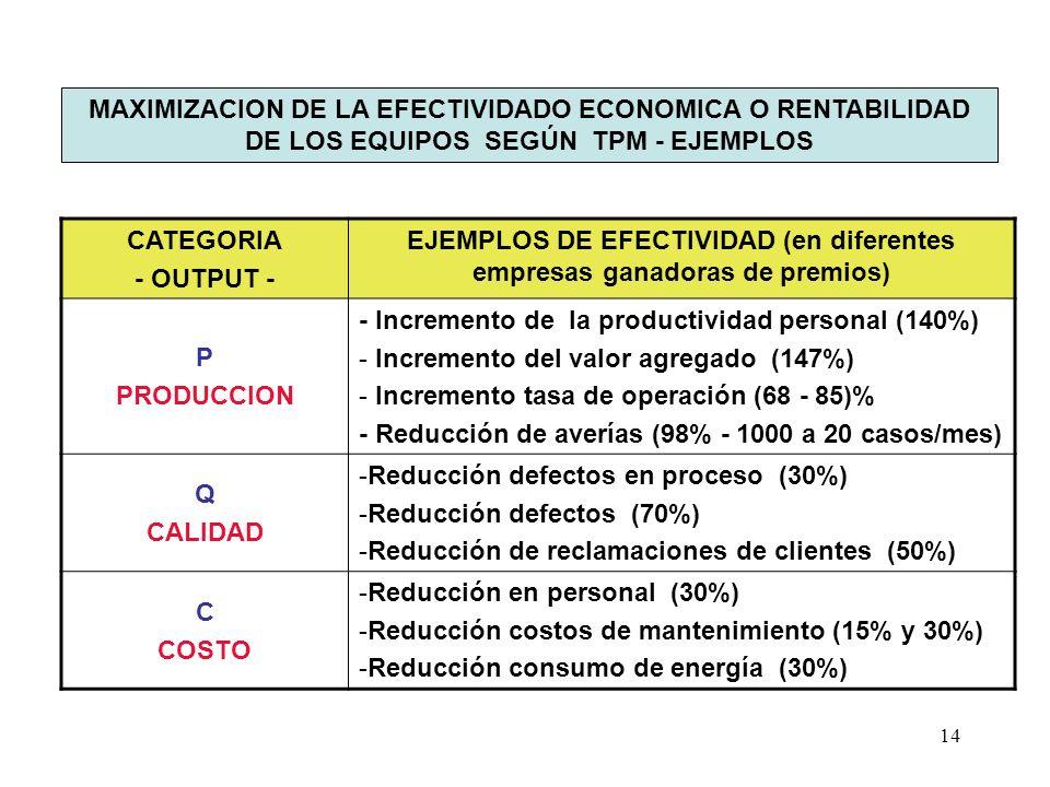 14 MAXIMIZACION DE LA EFECTIVIDADO ECONOMICA O RENTABILIDAD DE LOS EQUIPOS SEGÚN TPM - EJEMPLOS CATEGORIA - OUTPUT - EJEMPLOS DE EFECTIVIDAD (en difer
