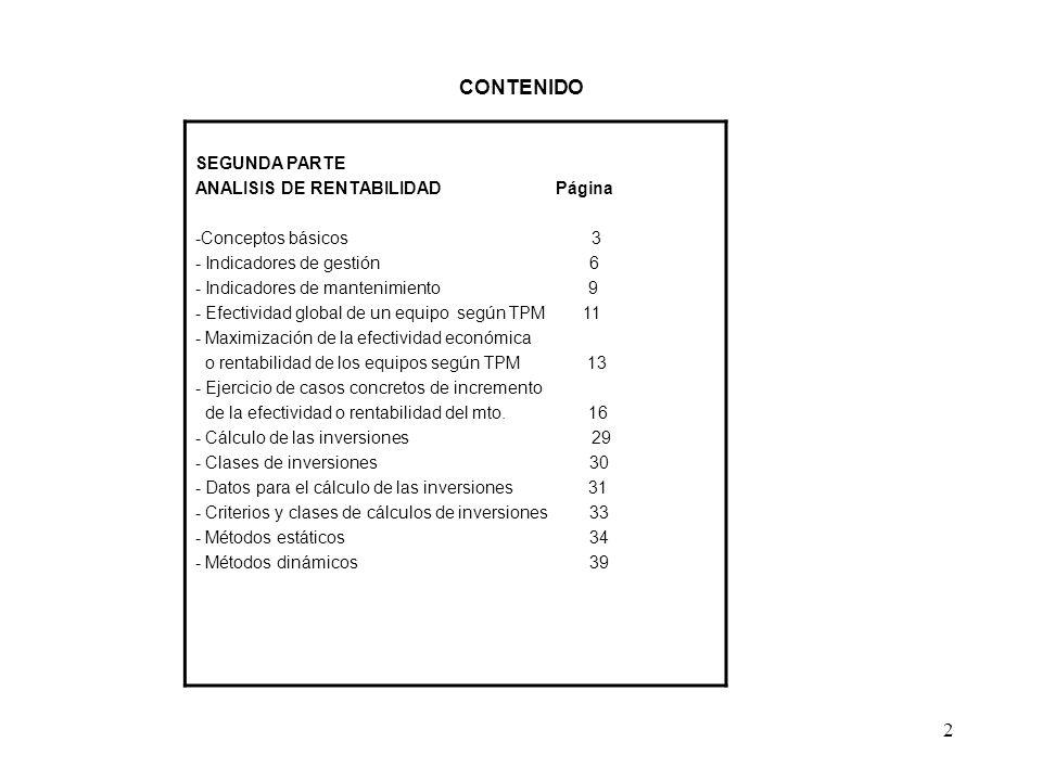 2 CONTENIDO SEGUNDA PARTE ANALISIS DE RENTABILIDAD Página -Conceptos básicos 3 - Indicadores de gestión 6 - Indicadores de mantenimiento 9 - Efectivid