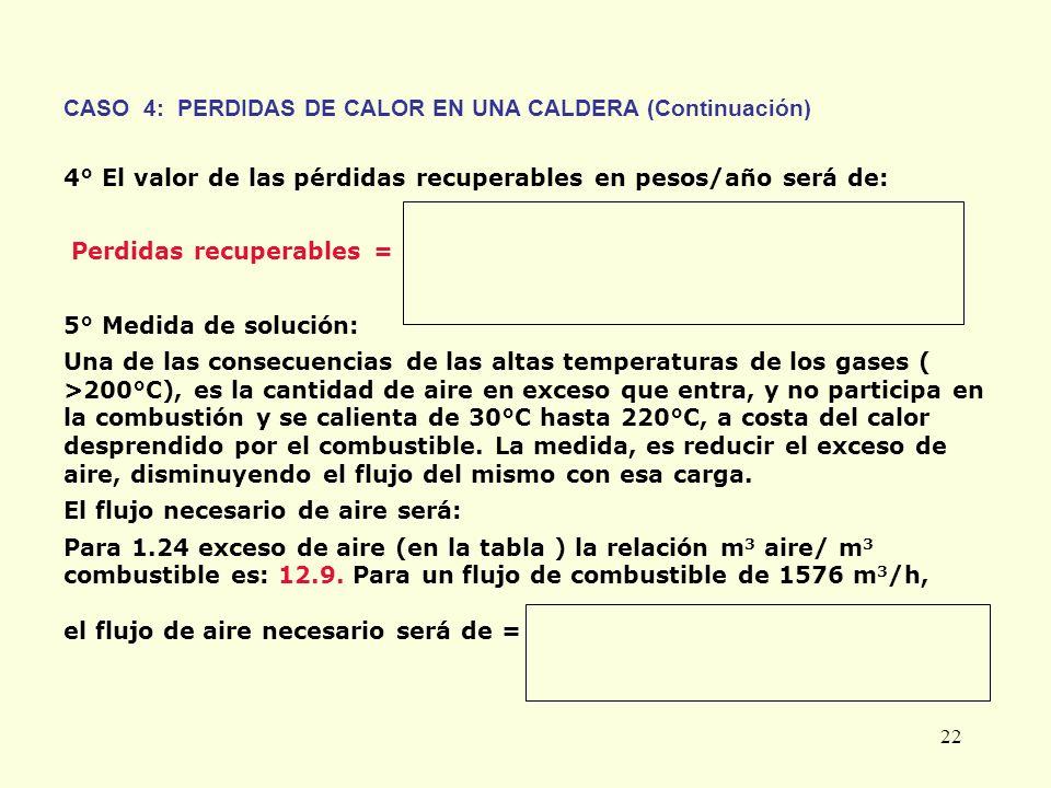 22 CASO 4: PERDIDAS DE CALOR EN UNA CALDERA (Continuación) 4° El valor de las pérdidas recuperables en pesos/año será de: Perdidas recuperables = 5° M