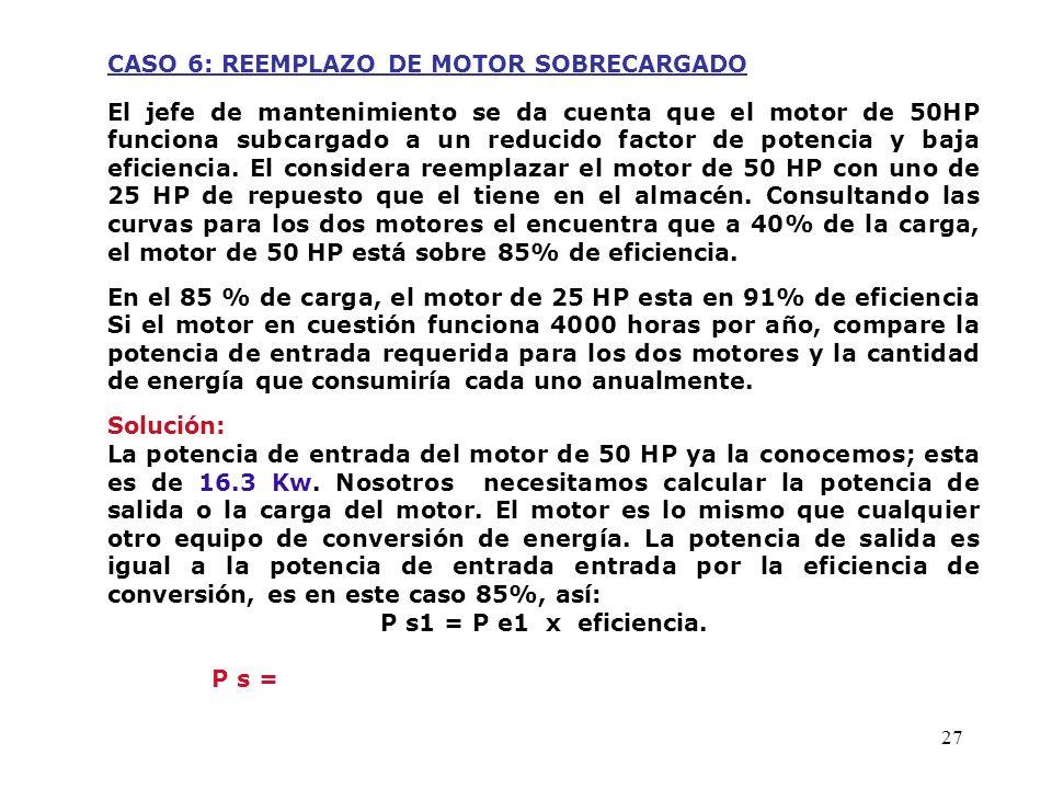 27 CASO 6: REEMPLAZO DE MOTOR SOBRECARGADO El jefe de mantenimiento se da cuenta que el motor de 50HP funciona subcargado a un reducido factor de pote