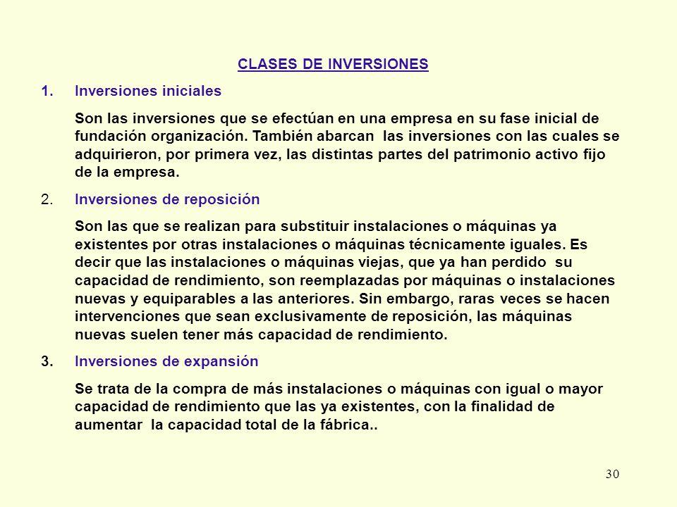 30 CLASES DE INVERSIONES 1. Inversiones iniciales Son las inversiones que se efectúan en una empresa en su fase inicial de fundación organización. Tam