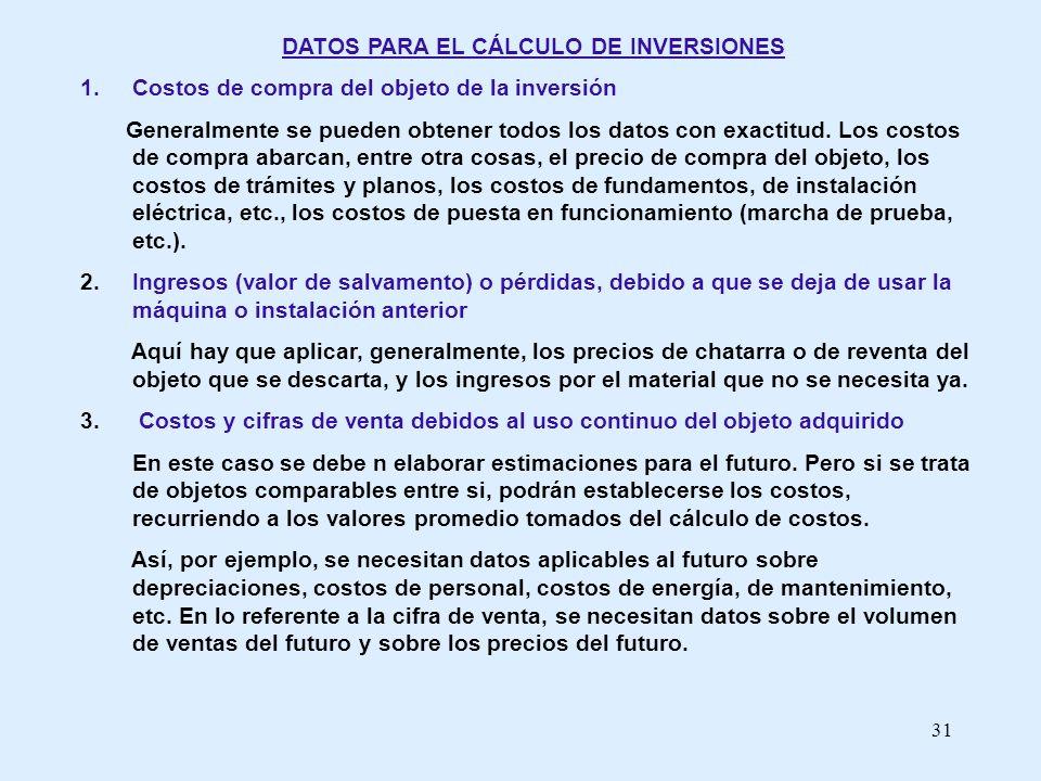 31 DATOS PARA EL CÁLCULO DE INVERSIONES 1. Costos de compra del objeto de la inversión Generalmente se pueden obtener todos los datos con exactitud. L