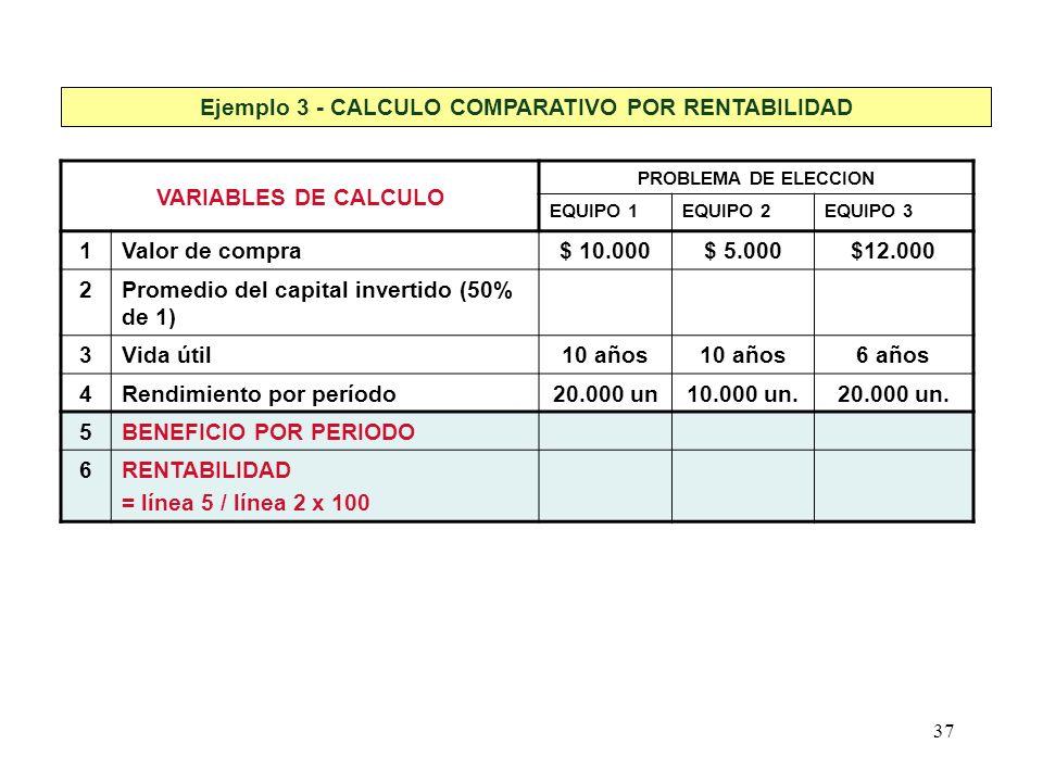 37 Ejemplo 3 - CALCULO COMPARATIVO POR RENTABILIDAD VARIABLES DE CALCULO PROBLEMA DE ELECCION EQUIPO 1EQUIPO 2EQUIPO 3 1Valor de compra$ 10.000$ 5.000