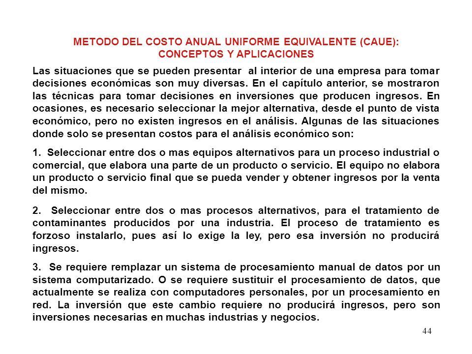 44 METODO DEL COSTO ANUAL UNIFORME EQUIVALENTE (CAUE): CONCEPTOS Y APLICACIONES Las situaciones que se pueden presentar al interior de una empresa par