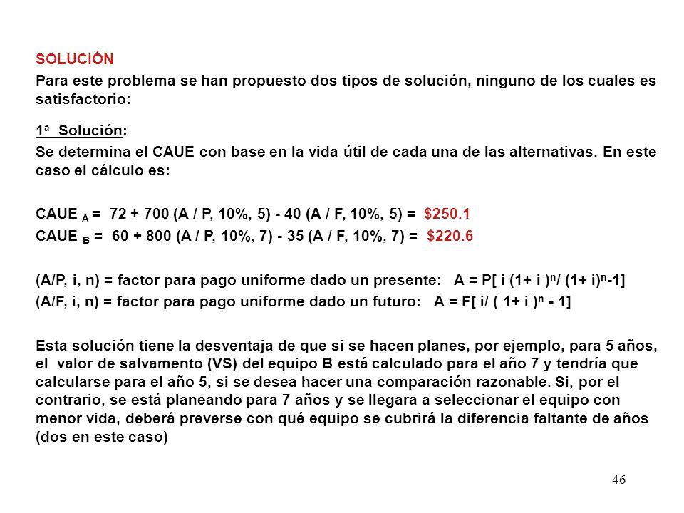 46 SOLUCIÓN Para este problema se han propuesto dos tipos de solución, ninguno de los cuales es satisfactorio: 1 a Solución: Se determina el CAUE con