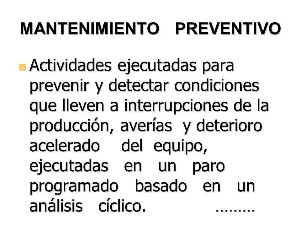 …MANTENIMIENTO PREVENTIVO determinar las frecuencias óptimas para el Mantenimiento Preventivo, sin riesgo para los equipo.