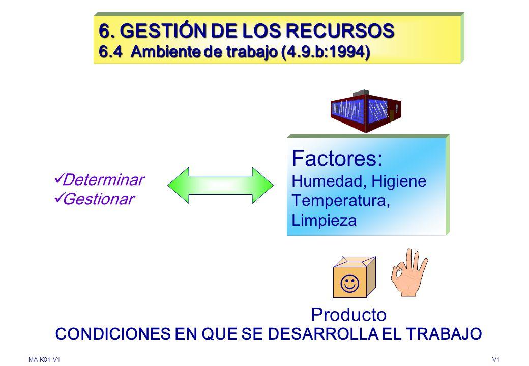 MA-K01-V1V1 6. GESTIÓN DE LOS RECURSOS 6.3 Infraestructura Determinar Proporcionar Mantener 4.9.g: 1994 Conformidad del Producto Espacios de trabajo E