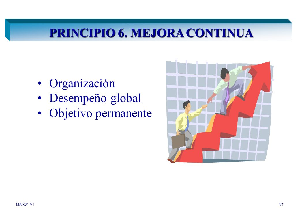 MA-K01-V1V1 PRINCIPIO 6. MEJORA CONTINUA Organización Desempeño global Objetivo permanente