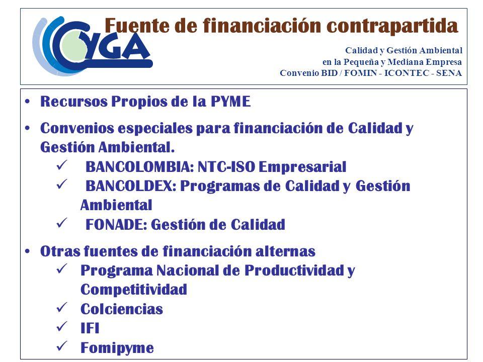 Recursos Propios de la PYME Convenios especiales para financiación de Calidad y Gestión Ambiental. BANCOLOMBIA: NTC-ISO Empresarial BANCOLDEX: Program