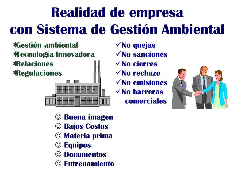 Gestión ambiental Tecnología Innovadora Relaciones Regulaciones No quejas No sanciones No cierres No rechazo No emisiones No barreras comerciales Buen