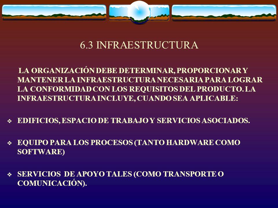 6.3 INFRAESTRUCTURA LA ORGANIZACIÓN DEBE DETERMINAR, PROPORCIONAR Y MANTENER LA INFRAESTRUCTURA NECESARIA PARA LOGRAR LA CONFORMIDAD CON LOS REQUISITO