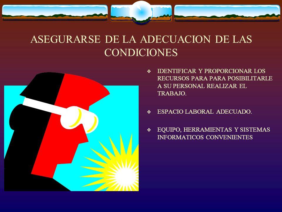 ASEGURARSE DE LA ADECUACION DE LAS CONDICIONES IDENTIFICAR Y PROPORCIONAR LOS RECURSOS PARA PARA POSIBILITARLE A SU PERSONAL REALIZAR EL TRABAJO. ESPA