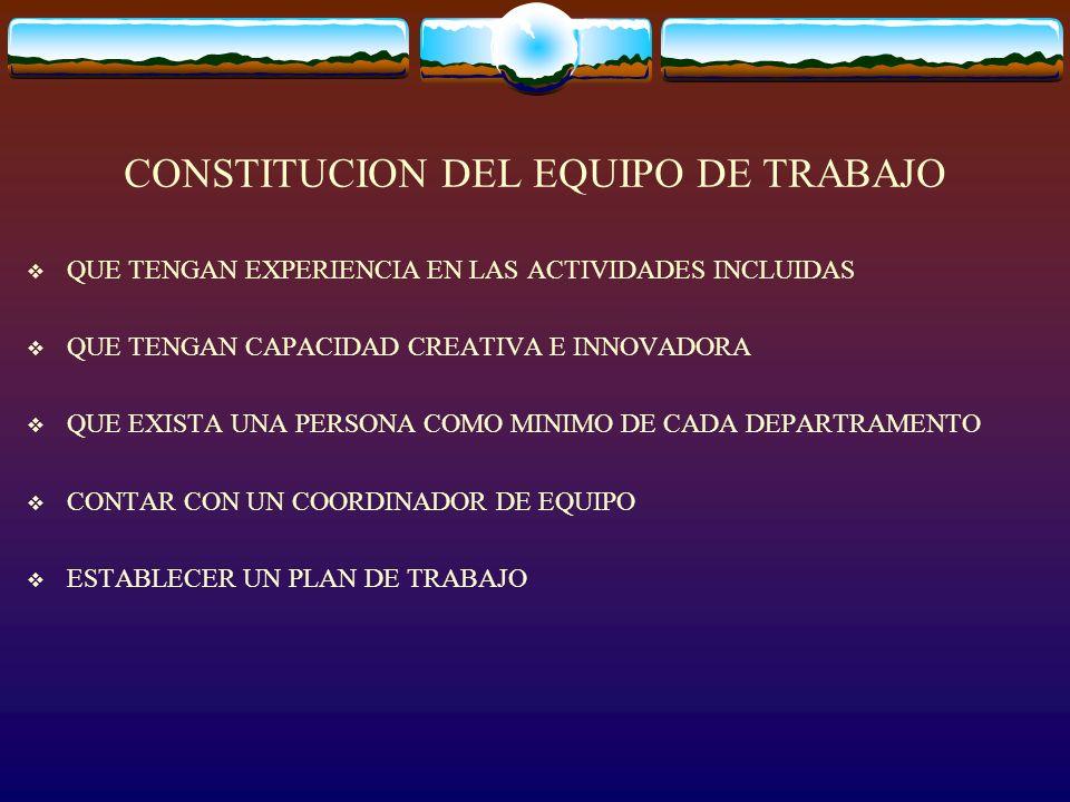 CONSTITUCION DEL EQUIPO DE TRABAJO QUE TENGAN EXPERIENCIA EN LAS ACTIVIDADES INCLUIDAS QUE TENGAN CAPACIDAD CREATIVA E INNOVADORA QUE EXISTA UNA PERSO