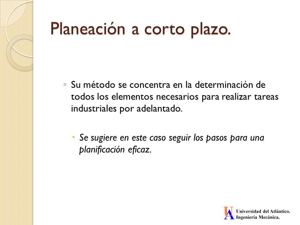 Planeación a corto plazo. Su método se concentra en la determinación de todos los elementos necesarios para realizar tareas industriales por adelantad