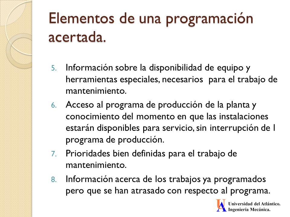 Elementos de una programación acertada. 5. Información sobre la disponibilidad de equipo y herramientas especiales, necesarios para el trabajo de mant