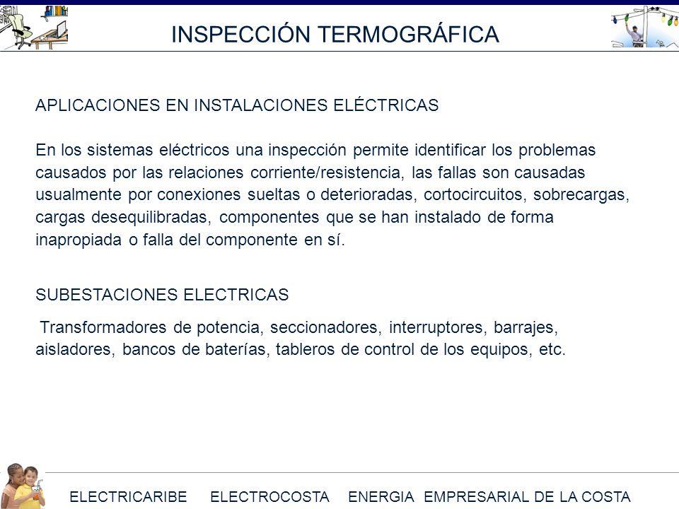 ELECTRICARIBE ELECTROCOSTA ENERGIA EMPRESARIAL DE LA COSTA INSPECCIÓN TERMOGRÁFICA APLICACIONES EN INSTALACIONES ELÉCTRICAS En los sistemas eléctricos