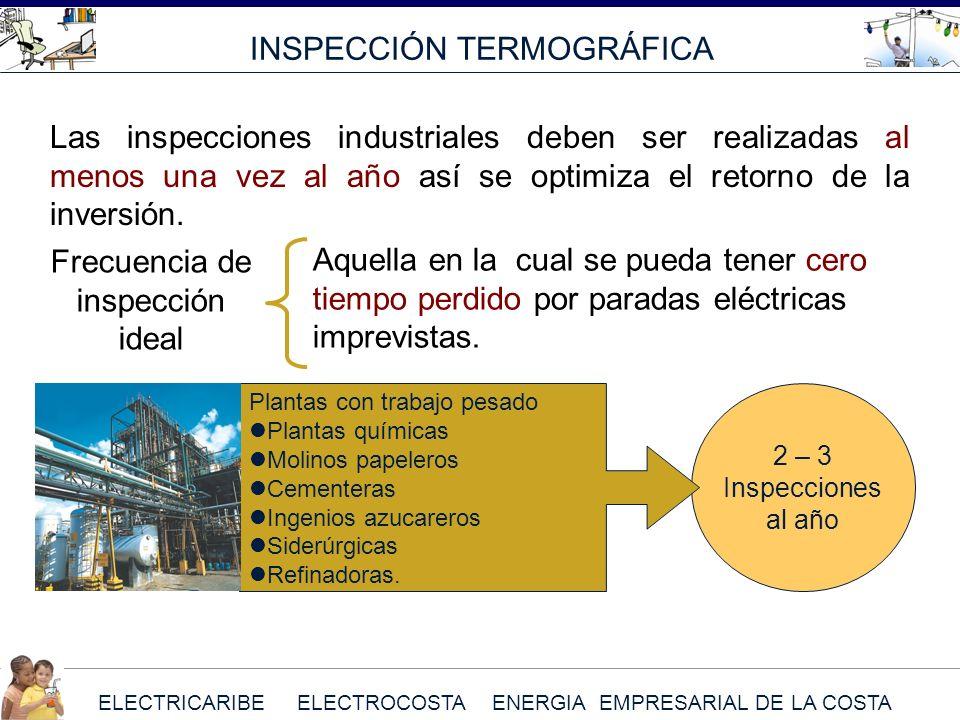 ELECTRICARIBE ELECTROCOSTA ENERGIA EMPRESARIAL DE LA COSTA INSPECCIÓN TERMOGRÁFICA 2 – 3 Inspecciones al año Plantas con trabajo pesado Plantas químic