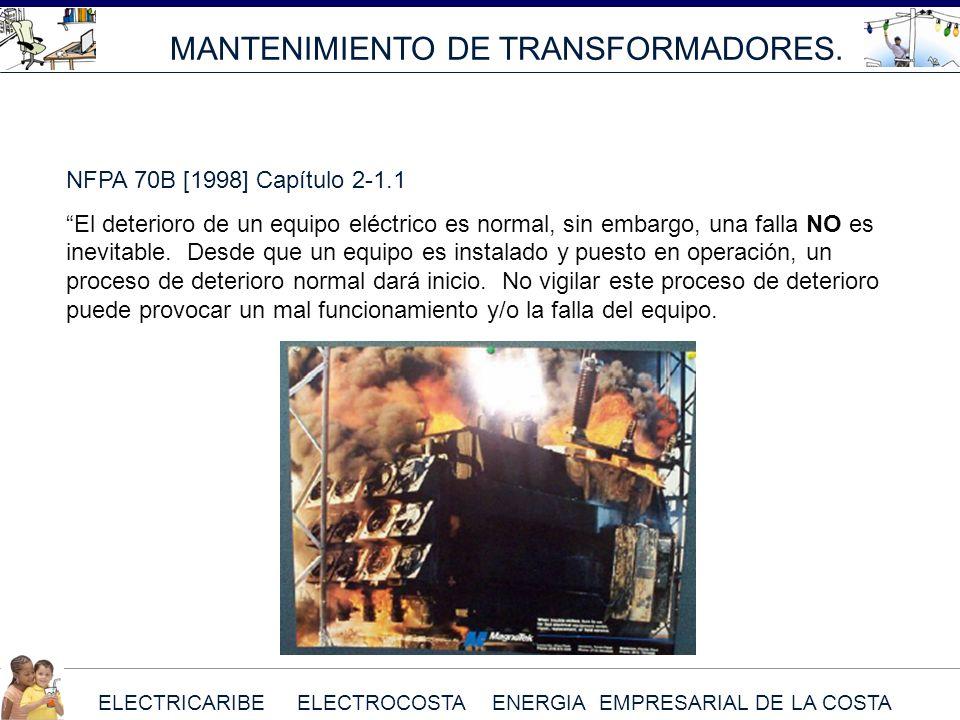 ELECTRICARIBE ELECTROCOSTA ENERGIA EMPRESARIAL DE LA COSTA MANTENIMIENTO DE TRANSFORMADORES. NFPA 70B [1998] Capítulo 2-1.1 El deterioro de un equipo
