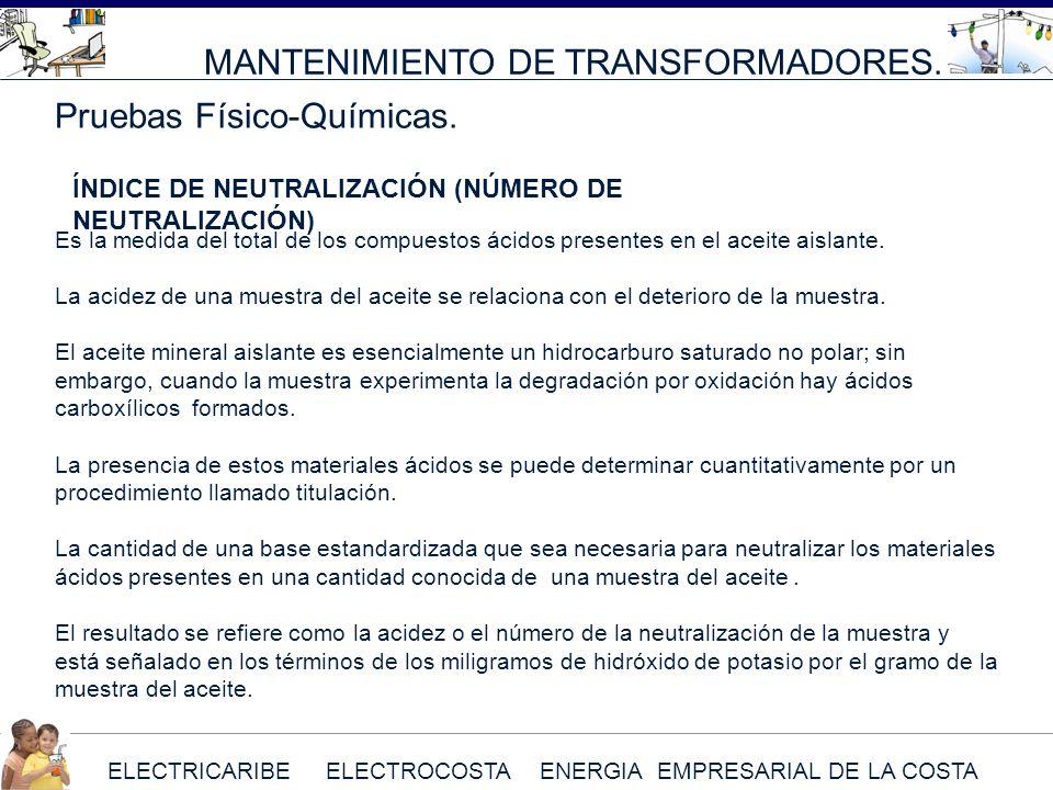 ELECTRICARIBE ELECTROCOSTA ENERGIA EMPRESARIAL DE LA COSTA MANTENIMIENTO DE TRANSFORMADORES. Pruebas Físico-Químicas. Es la medida del total de los co
