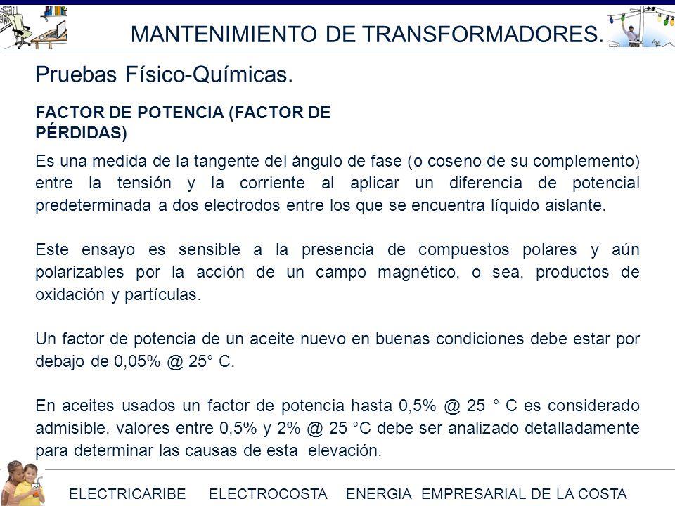 ELECTRICARIBE ELECTROCOSTA ENERGIA EMPRESARIAL DE LA COSTA MANTENIMIENTO DE TRANSFORMADORES. Pruebas Físico-Químicas. FACTOR DE POTENCIA (FACTOR DE PÉ
