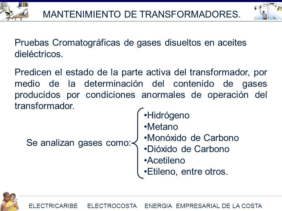 ELECTRICARIBE ELECTROCOSTA ENERGIA EMPRESARIAL DE LA COSTA MANTENIMIENTO DE TRANSFORMADORES. Predicen el estado de la parte activa del transformador,