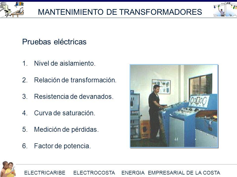 ELECTRICARIBE ELECTROCOSTA ENERGIA EMPRESARIAL DE LA COSTA MANTENIMIENTO DE TRANSFORMADORES 1.Nivel de aislamiento. 2.Relación de transformación. 3.Re