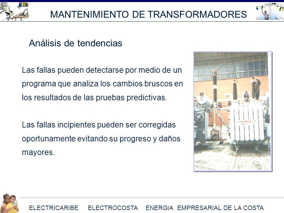 ELECTRICARIBE ELECTROCOSTA ENERGIA EMPRESARIAL DE LA COSTA MANTENIMIENTO DE TRANSFORMADORES Las fallas pueden detectarse por medio de un programa que