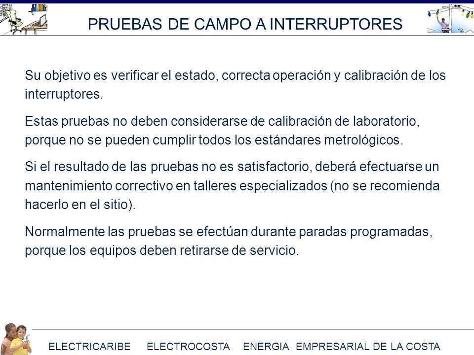 ELECTRICARIBE ELECTROCOSTA ENERGIA EMPRESARIAL DE LA COSTA Su objetivo es verificar el estado, correcta operación y calibración de los interruptores.