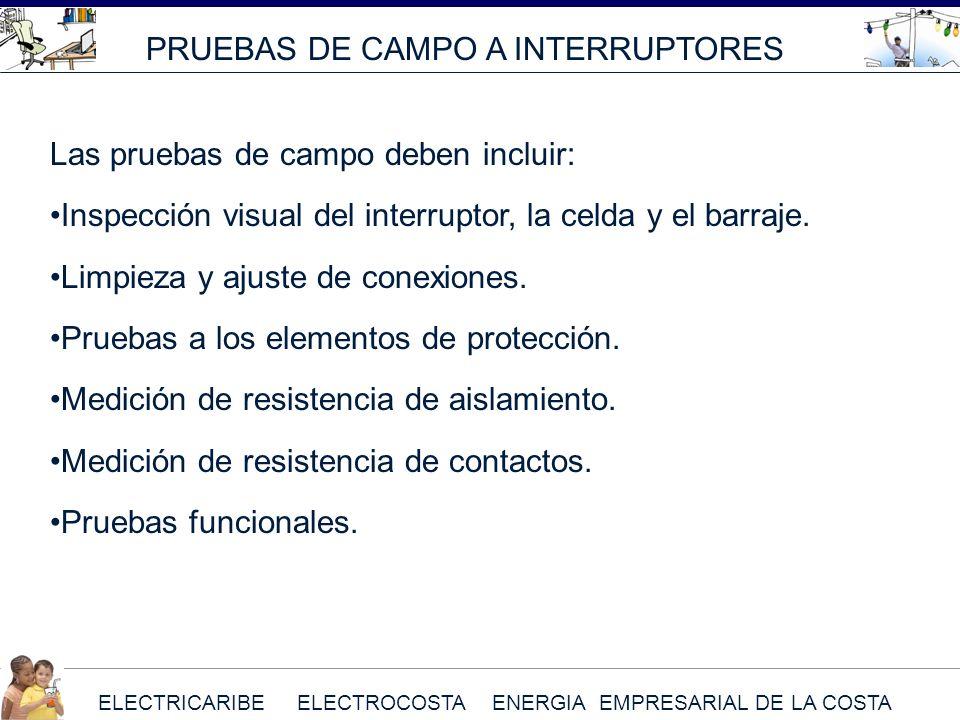 ELECTRICARIBE ELECTROCOSTA ENERGIA EMPRESARIAL DE LA COSTA Las pruebas de campo deben incluir: Inspección visual del interruptor, la celda y el barraj