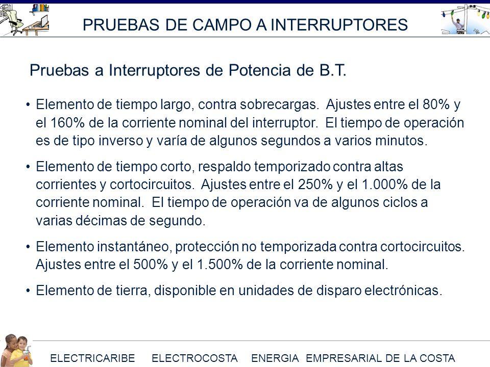ELECTRICARIBE ELECTROCOSTA ENERGIA EMPRESARIAL DE LA COSTA Elemento de tiempo largo, contra sobrecargas. Ajustes entre el 80% y el 160% de la corrient