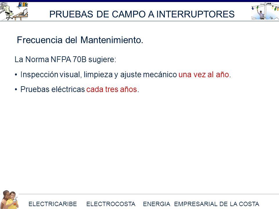 ELECTRICARIBE ELECTROCOSTA ENERGIA EMPRESARIAL DE LA COSTA La Norma NFPA 70B sugiere: Inspección visual, limpieza y ajuste mecánico una vez al año. Pr