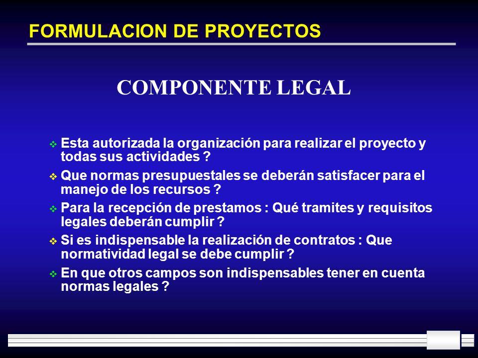 FORMULACION DE PROYECTOS Esta autorizada la organización para realizar el proyecto y todas sus actividades ? Que normas presupuestales se deberán sati