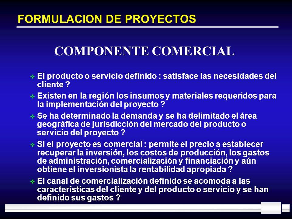 FORMULACION DE PROYECTOS El producto o servicio definido : satisface las necesidades del cliente ? Existen en la región los insumos y materiales reque