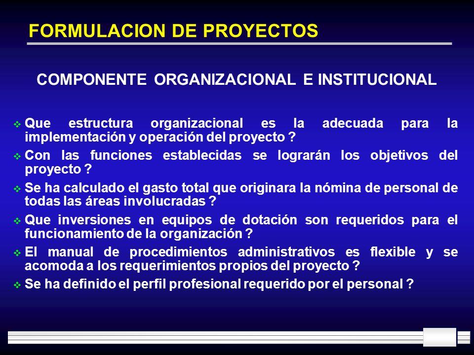 FORMULACION DE PROYECTOS Que estructura organizacional es la adecuada para la implementación y operación del proyecto ? Con las funciones establecidas