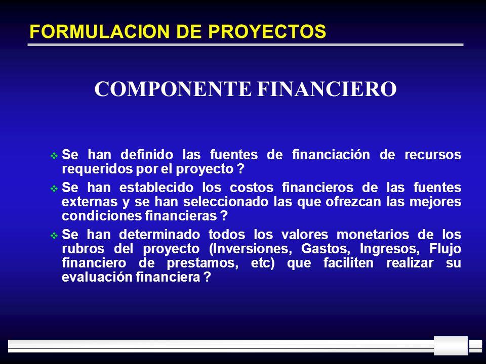 FORMULACION DE PROYECTOS Se han definido las fuentes de financiación de recursos requeridos por el proyecto ? Se han establecido los costos financiero