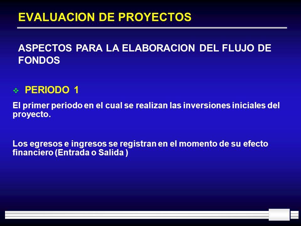 EVALUACION DE PROYECTOS ASPECTOS PARA LA ELABORACION DEL FLUJO DE FONDOS PERIODO 1 El primer periodo en el cual se realizan las inversiones iniciales