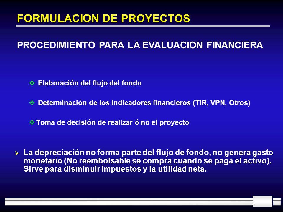 FORMULACION DE PROYECTOS Elaboración del flujo del fondo Determinación de los indicadores financieros (TIR, VPN, Otros) Toma de decisión de realizar ó