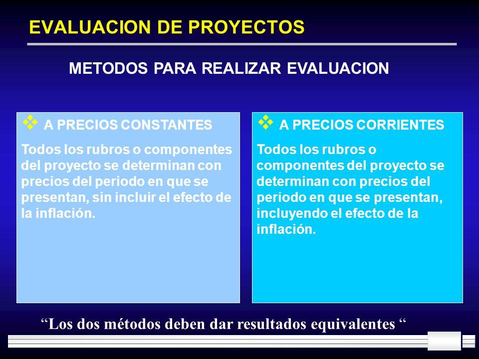 EVALUACION DE PROYECTOS METODOS PARA REALIZAR EVALUACION A PRECIOS CONSTANTES Todos los rubros o componentes del proyecto se determinan con precios de
