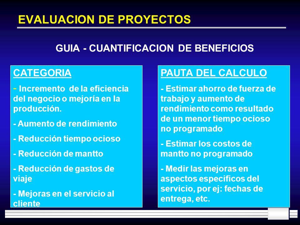EVALUACION DE PROYECTOS GUIA - CUANTIFICACION DE BENEFICIOS CATEGORIA - Incremento de la eficiencia del negocio o mejoría en la producción. - Aumento