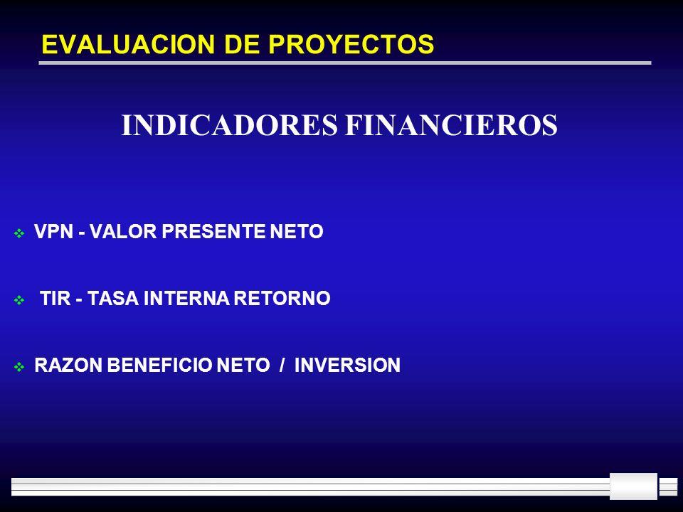 EVALUACION DE PROYECTOS VPN - VALOR PRESENTE NETO TIR - TASA INTERNA RETORNO RAZON BENEFICIO NETO / INVERSION INDICADORES FINANCIEROS